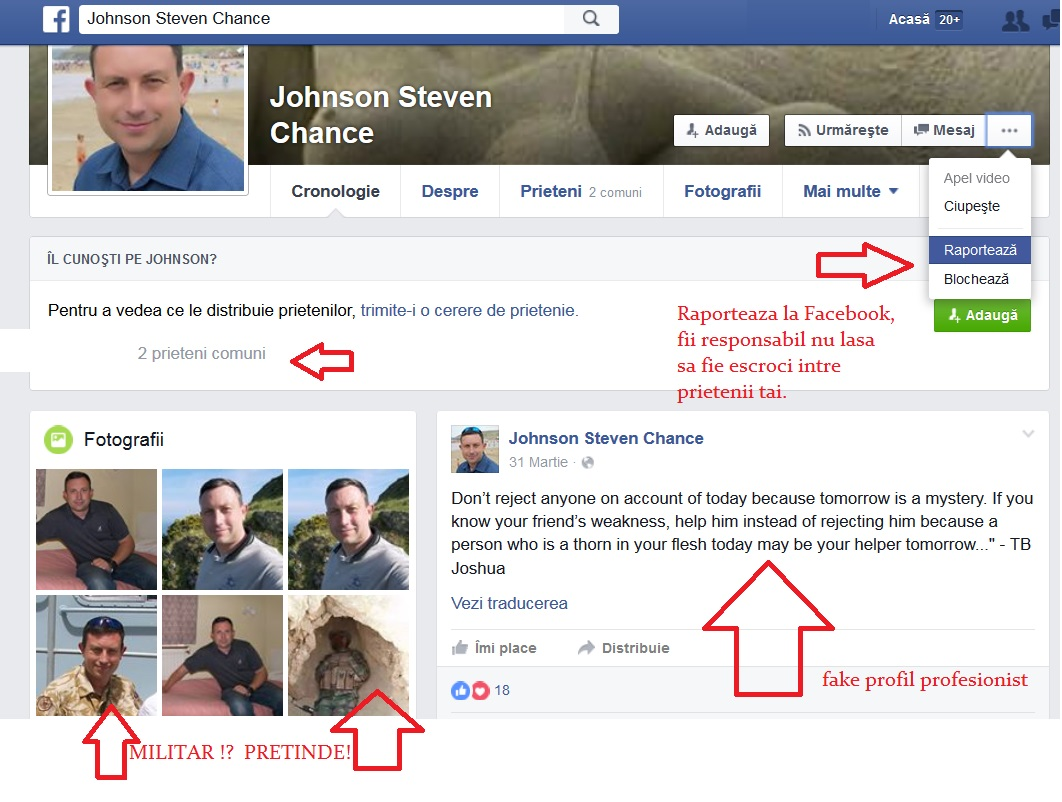 raporteaza contoruli false de pa facebook FAKE PROFIL