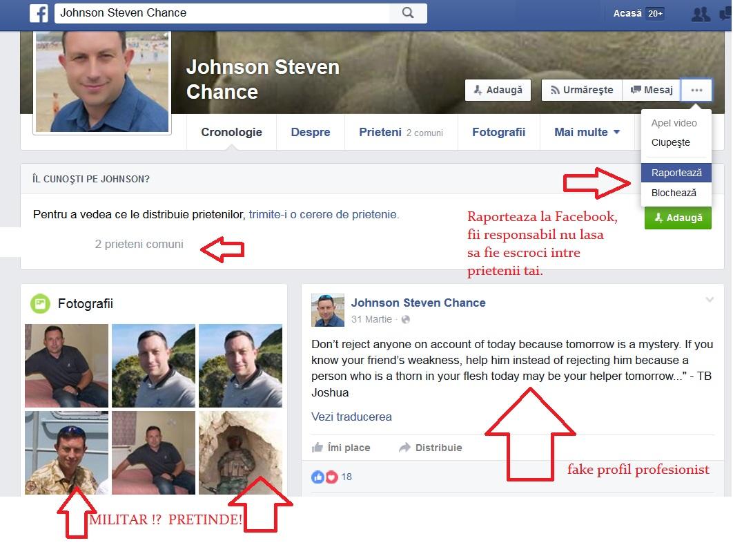 raporteaza contoruli false de pa facebook FAKE PROFIL