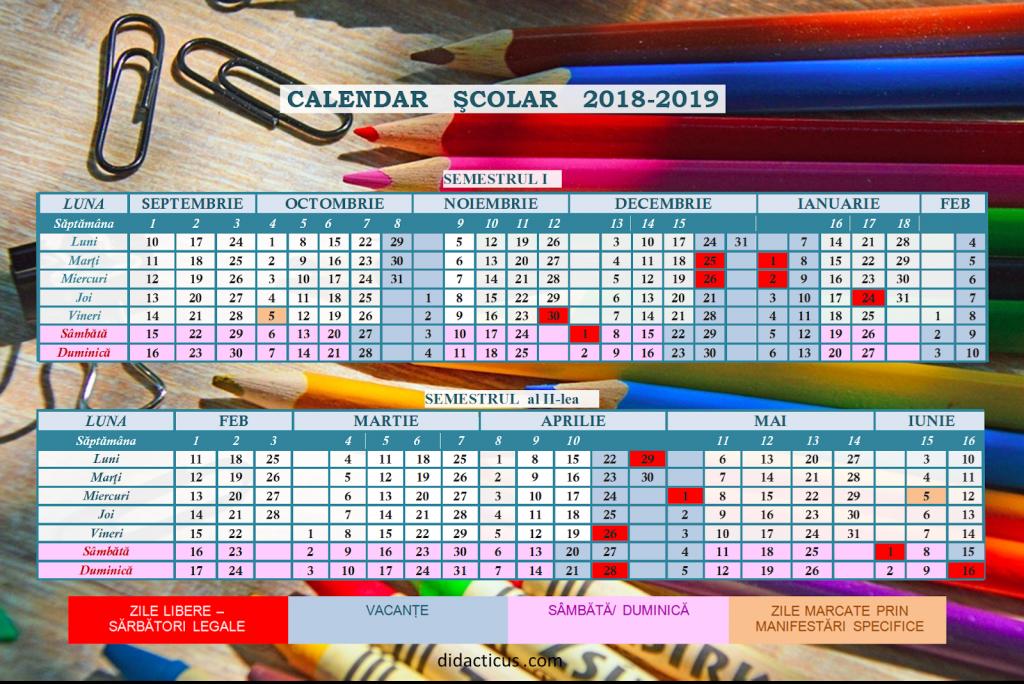 Inapoi la scoala structura anului scolar 2018-2019